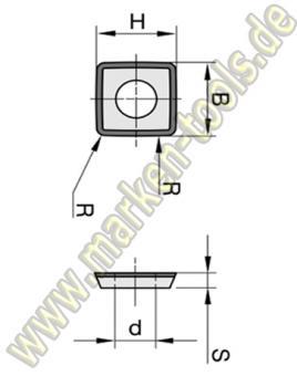HM-HW-Wendeplatte Wendemesser 9,8 x 9,8 x 2,0mm 4-schneidig Z=4 bombiert 1 Loch 10 Stück