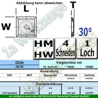 HM Wendemesser HW 14x14x1,2 d=8,5mm 30° (Vorschneider) Z4 30° 10 Stück