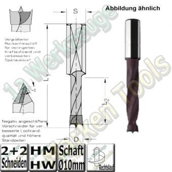 HW HM Dübelbohrer Dübelochbohrer Ø 10mm x35x70mm Z2+V2 Schaft 10mm
