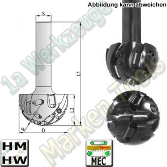 Kugelschaftfräser Z1 HM HW Wendeplatten Ø20x19x110mm R=10mm Schaft 20mm