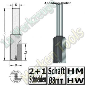 Nutfräser Ø 10mm x30x90mm Z2 HM HW Schaft 8mm