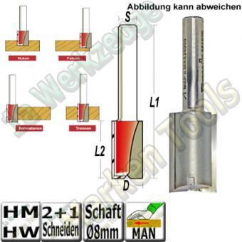 Nutfräser Ø 8mm x20x53mm Z2+1 HM HW Schaft 8mm