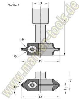 R=4mm HM Wendeplatten Abrund- Fasefräser Ø40x100mm HW S=16 Gr.1 T2