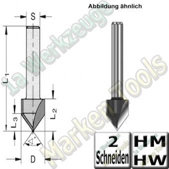 V-Nutfräser Schriftenfräser Gravierfräser 60° Ø 12,7mm x15,9x47,9mm Z2 HM HW Schaft 8mm