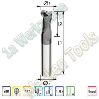 VHM Z2 Bohrnutfräser Ø10mm x22x70mm Schaft 10mm