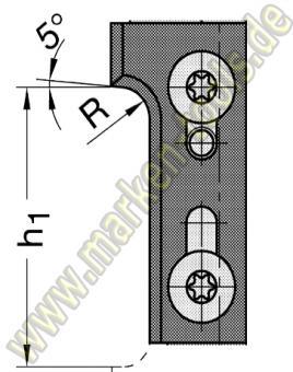 Wechselplatte Radius 8 mm für Gr.2 T1 oben
