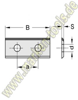 Wendeplatte Wendeschneidplatte DIA DP 50x12x1.5mm 1seitig 2 Loch, a=26mm
