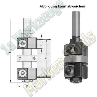 Wendeplatten Doppelbündigfräser Gr1 Ø22mm h12-30x70mm Schaft 8mm Kugellager mittig