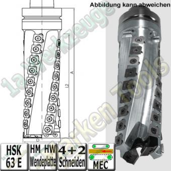 Wendeplatten-Spiralbohrfräser D=80 L2=200 A=250 HSK63E RR
