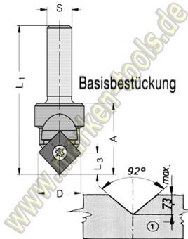 Wendeplatten-Ziernutfräser HW inkl. Basisbestückung S=8