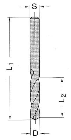 Ø 2.5x14x43mm Spiralbohrer VHM VHW  L.