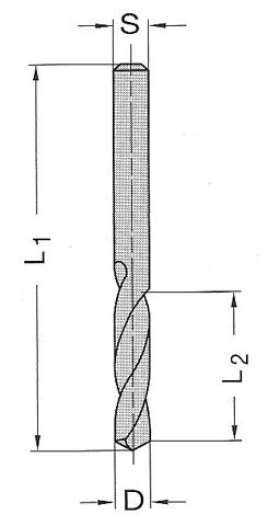 Ø 2x12x38mm Spiralbohrer VHM VHW  L.
