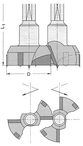 Ø 34x57,5mm Topfbohrer Z2+V2 HM S=10 für Beschlagbohrersatz