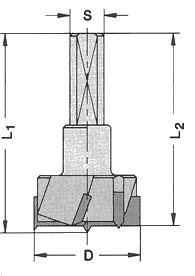 Ø 35mm x57,5mm Topfbohrer Z3+V3  HM S=10  L.