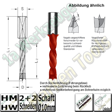 HW HM Dübelboher Ø 10mm x30x57,5mm Z2+V2 m.Rückenführung Schaft 10mm L.
