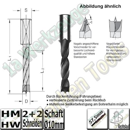 HW HM Dübelboher Ø 10mm x30x57,5mm Z2+V2 m.Rückenführung Schaft 10mm