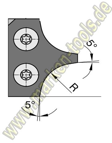 Abrundmesser 30 x 25 x 2 mm, R = 6 mm für Gr.2 T2, VE=2 Stück
