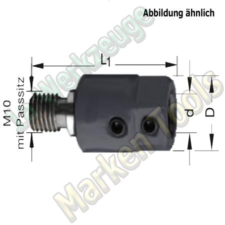 Bohrfutter Spannfutter M10 P11mm d=8mm, L1=41mm, Links