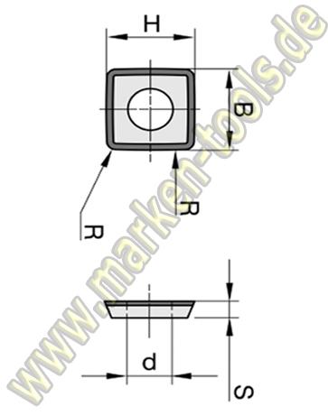 DIA DP Wendeplatte Wendemesser 9,8 x 9,8 x 2,0mm 4-schneidig Z=4 bombiert 1 Loch