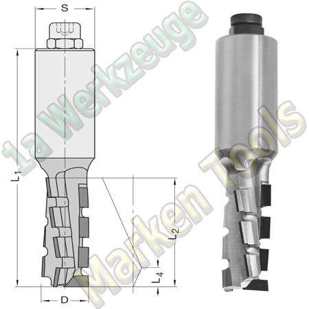 DP Dia-Fräser 20mm x35/40x105mm JSO Schaftfräser Z2 DIANORMDUO S=25x55mm L.