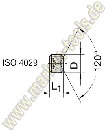 Gewindestift M6x4mm m.Ringschneide und Innensechskant ISO 4029 VE=10 Stück Inhalt