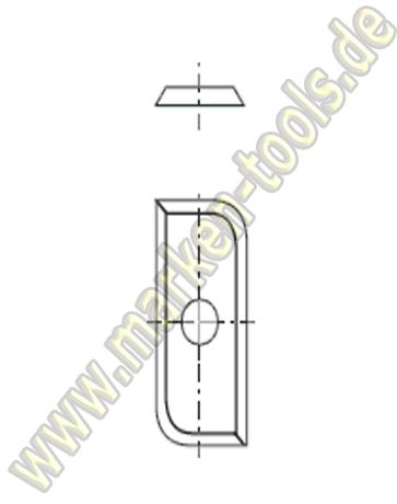 HM Hohlkehl-Wendemesser HW Radius=10mm 30x14.5x1.5mm (2Stk.)