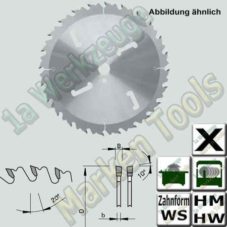 HM HW Sägeblatt mit innenliegenden HW- Räumer Ø 735x6x4,4x30mm Z=48 WS NL SDB