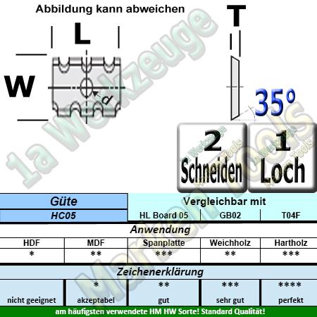HM HW Wendeplatte Wendemesser 20 x 12 x 1.5 Z2 35° 1 Loch Spanbrechernut 10 Stück HC05