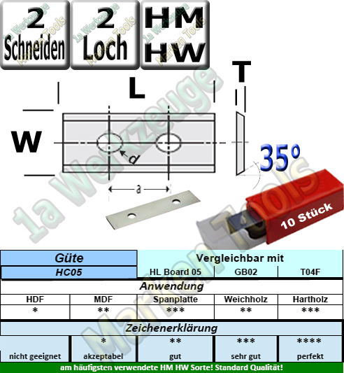 HM HW Wendeplatten Wendemesser 30 x 12 x 1.5 Z2 35° 2 Loch 10 Stück HC05|T04F