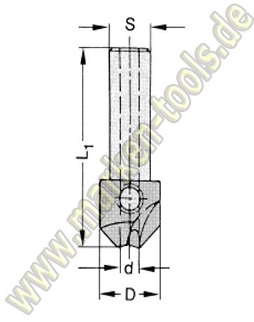 HM Senker 90° S=10x30 für Bohrer 5mm