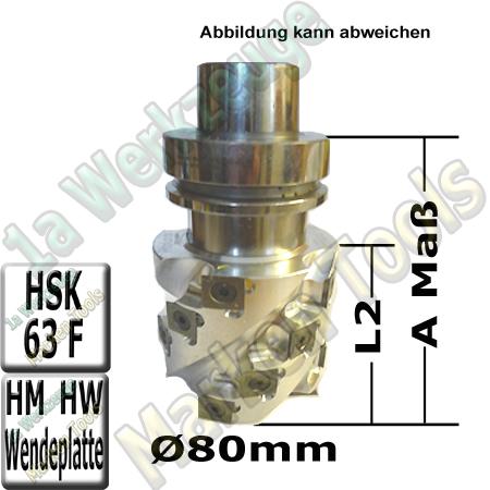 HM Wendeplatten-Spiralmesserkopf Ø 80mm x130x205mm SET HSK63F