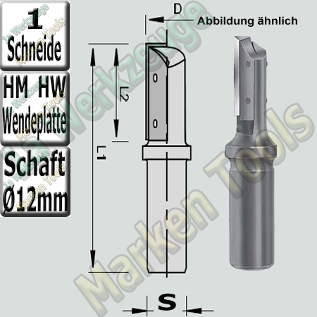 Holz Wendeplattenfräser Ø 16mm x50x100mm Z1 HM HW Schaft 12mm