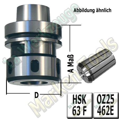 HSK 63F CNC Spannzangenfutter mit 2mm Spannzange 462E A=76mm