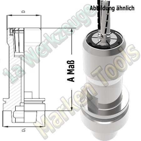 HSK 63F CNC Spannzangenfutter OZ25 462E Spannzange A=115mm D=53mm Zeta Innenmutter