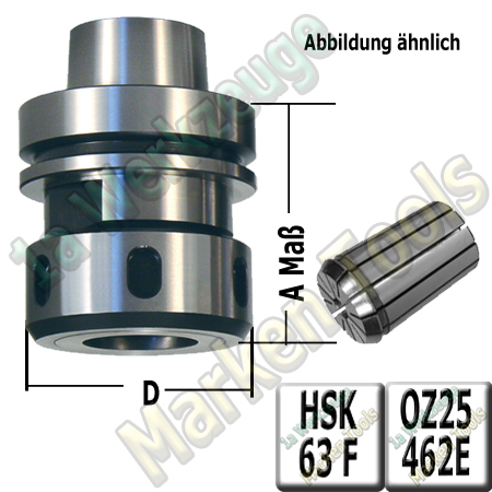 HSK 63F CNC Spannzangenfutter mit 25mm Spannzange 462E A=76mm