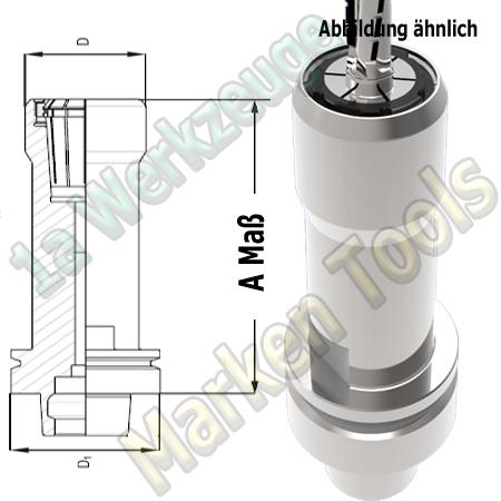 HSK63E Spannzangenfutter A=150mm D=53mm Zeta Innenmutter Spannzange OZ25/462E