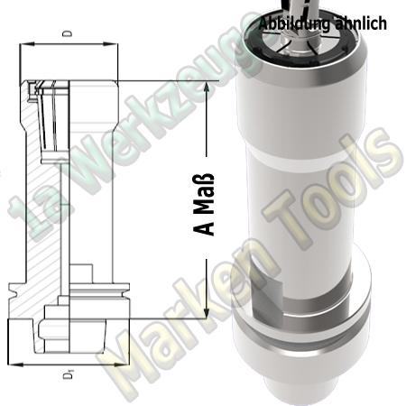 HSK63E Spannzangenfutter A=200mm D=53mm Zeta Innenmutter Spannzange OZ25/462E
