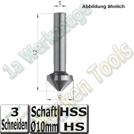 HSS Senker 90° Ø 16,5 x 60mm Z=3 S=10mm