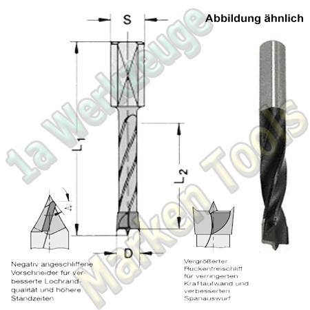 HW HM Dübelboher Ø 5mm x43x70mm Z2+V2 m.Rückenführung Schaft 10mm