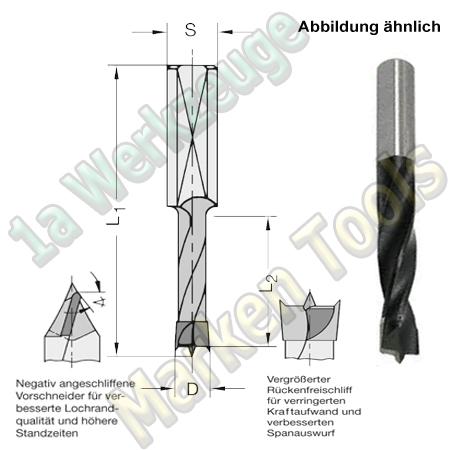 HW HM Dübelbohrer Dübelochbohrer Ø 5mm x35x70mm Z2+V2 Schaft 10mm  L.