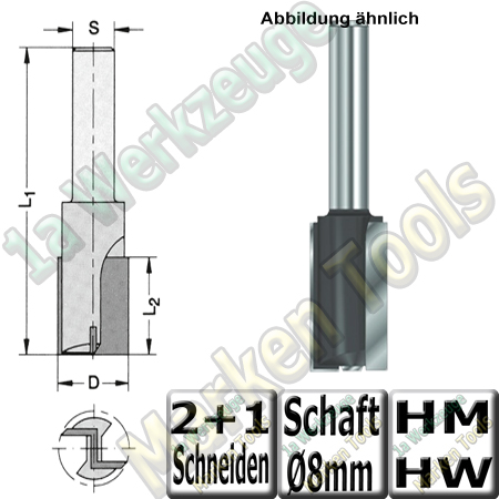 Nutfräser Ø 20mm x20x53mm Z2+1 HM HW Schaft 8mm