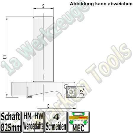 Ø 135mm x15x90mm Wendeplatten Planfräser Z4 S=25x60