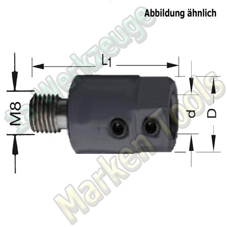 Spannfutter M8;10mm L. L1=40mm