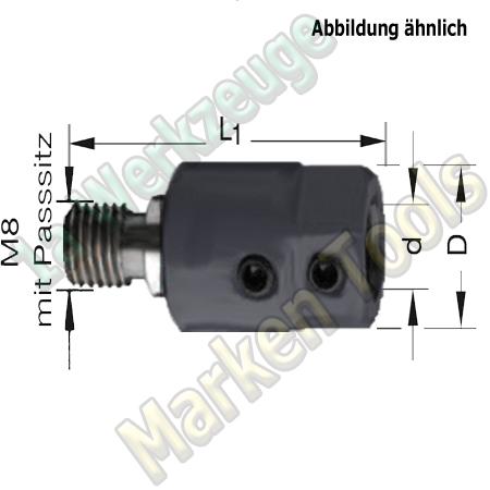 Spannfutter M8 mit Passitz 9mm; für Schaft10mm L. L1=40mm