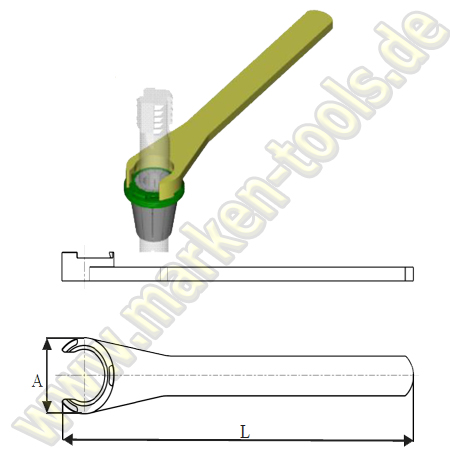 Standardspannschlüssel für Spannmutter Typ Zeta OZ25