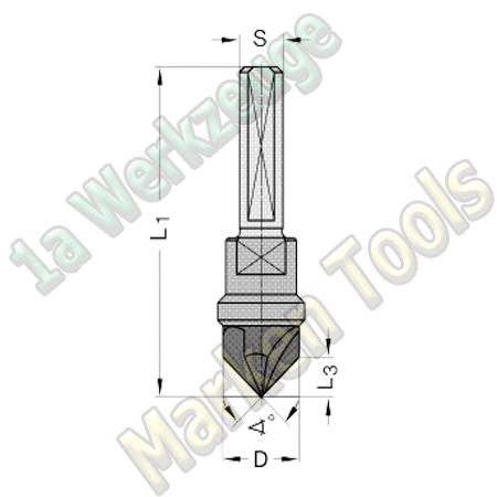 VHM Senker 90° Ø 14 x 55.5mm Z=3 S=10x28 mit Spannfläche und Einstellschraube
