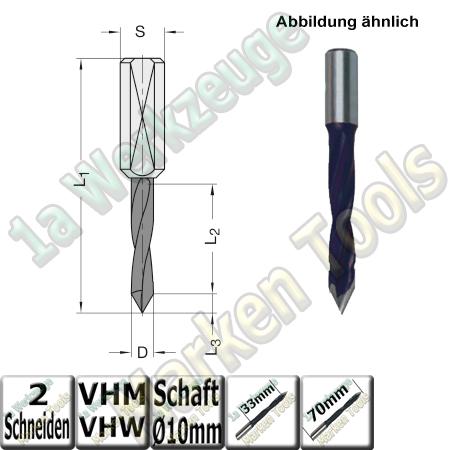 VHW VHM Dübelbohrer Dübelochbohrer Ø 10mm x33x70mm 60° Schaft 10mm
