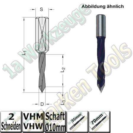 VHW VHM Dübelbohrer Dübelochbohrer Ø 8mm x35x70mm 60° Schaft 10mm  L.