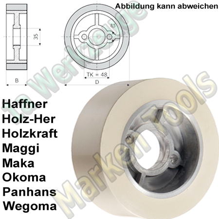 Vorschubrollen 120 x 50 mm x Ø35mm Haffner Holzher Holzkraft Wegoma Maggi Maka Panhans Okoma