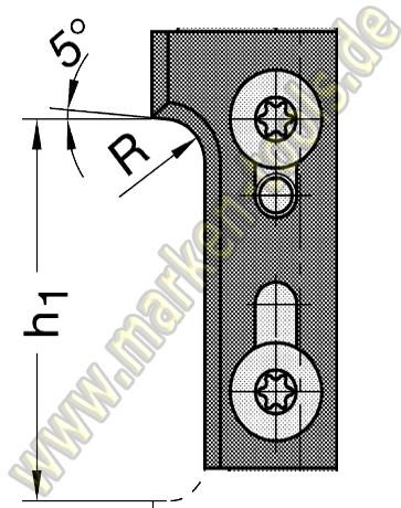 Wechselplatte Radius 3 mm für Gr.1 T1 oben